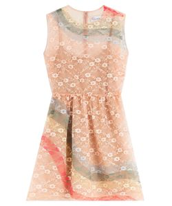 Red Valentino | Sheath Dress With Rainbow Lace Overlay Gr. 38