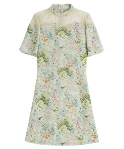 Valentino | Printed Silk Dress With Lace Gr. 40