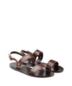 ANCIENT GREEK SANDALS | Croc-Embossed Flat Leather Sandals Gr. 36