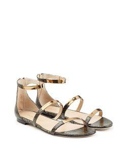 TAMARA MELLON | Embossed Leather Flat Sandals With Metallic Straps Gr. 38