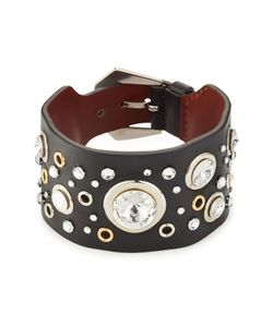 Alexander McQueen | Crystal Embellished Leather Cuff Gr. One Size