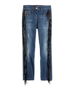 Roberto Cavalli | Straight Jeans With Leather Fringe Gr. 38