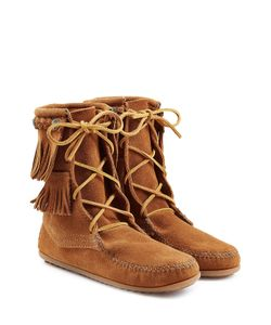 Minnetonka | Double Fringe Tramper Suede Boots With Studs Gr. 9