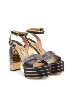 Salvatore Ferragamo | Embossed Leather Platform Sandals Gr. Us 8