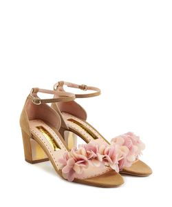 Rupert Sanderson | Petal Embellished Suede Sandals Gr. It 36