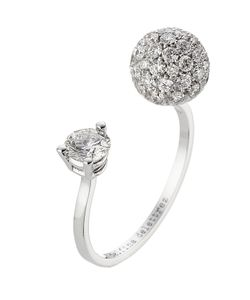 Delfina Delettrez | 18kt White Gold Sphere Ring With White Diamonds Gr. One Size