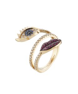 Delfina Delettrez | 18kt White Gold Ring With Diamonds Rubies And Sapphires Gr. One
