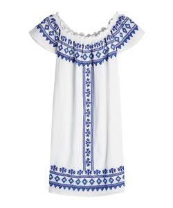 Christophe Sauvat | Embroide Cotton Off-Shoulder Dress Gr. S