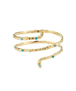 GAS BIJOUX | Liane 24k Plated Cuff With Glass Rocailles Gr. One