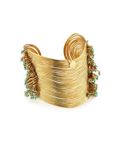 GAS BIJOUX | Wave 24k Plated Cuff With Glass Rocailles Gr. One