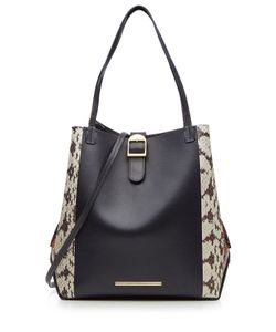 Roland Mouret | Leather And Snakeskin Tote Gr. One Size