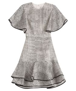 Jason Wu | Woodgrain Raffia Organza Short Sleeve Bias Ruffle Dress Gr. Us 6