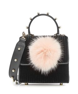Les petits joueurs | Velvet Shoulder Bag With Leather And Fox Fur Gr. One Size