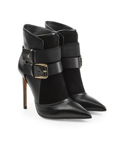 Balmain | Leather Ankle Boots With Buckles And Suede Gr. It 39.5