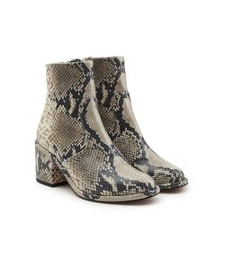 Robert Clergerie | Snakeskin Printed Leather Ankle Boots Gr. It 40