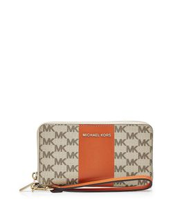 Michael Michael Kors | Center Stripe Leather Zip-Around Wristlet Wallet Gr. One Size