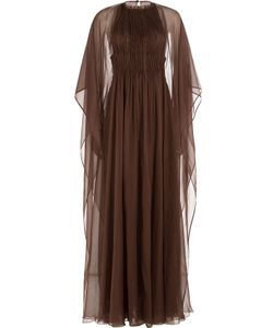 Valentino | Floor Length Silk Gown With Chiffon Cape Gr. It 40
