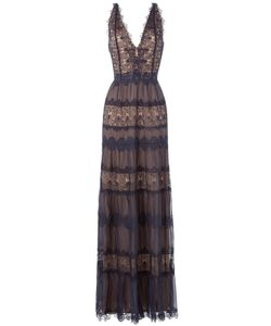 Catherine Deane | Floor Length Silk Dress With Lace Gr. Uk 10