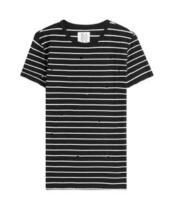Zoe Karssen | Distressed Striped Cotton T-Shirt Gr. S