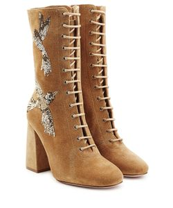 Red Valentino | Embroidered Lace-Up Suede Boots Gr. Eu 36