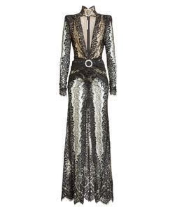 Alessandra Rich | Lace Gown With Embellished Choker Gr. It 40