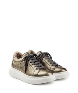 Brunello Cucinelli | Sheepskin Lined Metallic Leather Platform Sneakers Gr. It 36