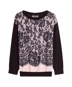 BOUTIQUE MOSCHINO | Virgin Wool Pullover With Lace Overlay Gr. It 40