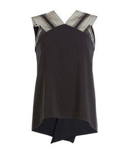 Roland Mouret | Sleeveless Draped Top With Lace Insets Gr. Uk 8