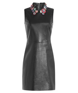 Red Valentino | Leather Mini-Dress With Floral Collar Gr. It 38