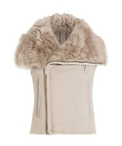 Rick Owens | Leather And Shearling Asymmetric Vest Gr. It 38
