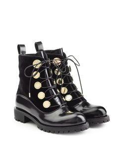 Alexander McQueen | Leather And Velvet Ankle Boots Gr. It 39