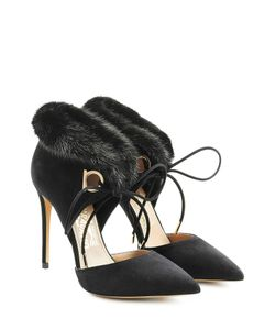 Salvatore Ferragamo | Suede Pumps With Fur Gr. Us 55