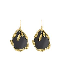 Aurelie Bidermann | 18kt Yellow Plated Earrings With Onyx Gr. One Size