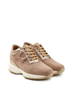 Hogan | Suede And Metallic Leather Platform Sneakers Gr. It 36