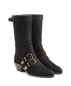 Chloe | Leather Buckle Front Ankle Boots Gr. It 36