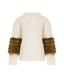 Saks Potts | Wool Pullover With Fox Fur Sleeve Detail Gr. One Size