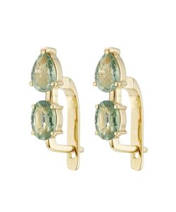 Ileana Makri | 18k Yelow Earrings With Green Sapphires Gr. One Size