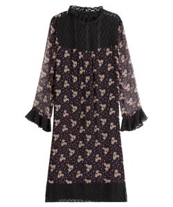 Anna Sui | Printed Silk Dress With Lace Gr. Us 8
