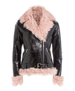 Sandy Liang | Leather And Shearling Biker Jacket Gr. Fr 36