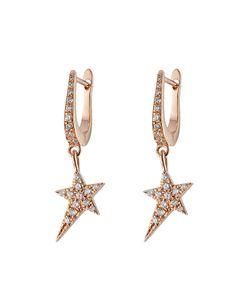 Diane Kordas | 18kt Rose Earrings With White Diamonds Gr. One Size