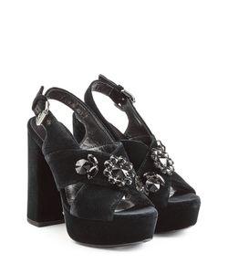 Mcq Alexander Mcqueen | Embellished Velvet Platform Sandals Gr. Eu 38
