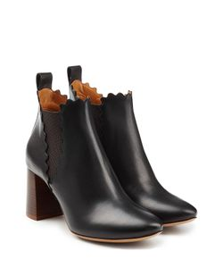 Chloe | Leather Ankle Boots With Scalloped Trim Gr. It 385