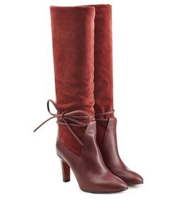 Chloe | Suede And Leather Boots With Side Tie Gr. It 39
