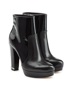 Michael Michael Kors | Patent Leather Panel Platform Ankle Boots With Chain Heel Gr. Us
