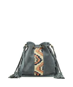 Star Mela | Embroidered Suede Bucket Bag With Tassels Gr. One Size