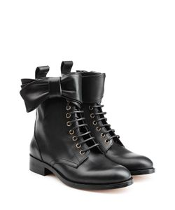 Red Valentino | Leather Lace-Up Ankle Boots With Bow Gr. Eu 375