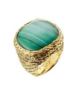 Aurelie Bidermann | 18kt Gold Plated Ring With Malachit Gr. 52