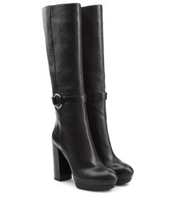 Hogan | Leather High Heel Boots Gr. It 395