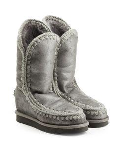 Mou | Metallic Eskimo Wedge Tall Sheepskin Boots Gr. Eu 36