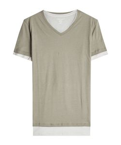Majestic | Layered Cotton T-Shirt With V-Neckline Gr. L